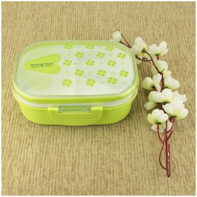 AVMART Kids Double Layer Green School Lunch Box with Spoon & Lid (18x13 cm)