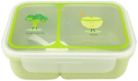 AVMART Kids Double Layer Green School Lunch Box with Spoon & Lid (20x13 cm)