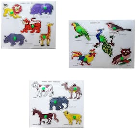 Awals Domestic Animals, Wild Animals, Birds Educational Tray Combo with Knob For Kids