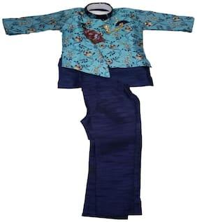 AZAD DYEING Silk Printed Top & Bottom Set - Blue