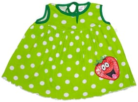 Baby Boon Green Cotton Sleeveless Knee Length Princess Frock ( Pack of 1 )