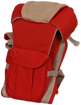 Baby Corn 4-IN-1 Carrier Bag;POLYCOTTON Adjustable Hands-Free Baby Carrier (0-30 Months) - Red