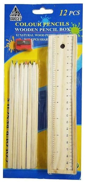 Baby Corn Fully Multicolor Cyllindrical Shaped Color Pencils Box (Pack of 3)