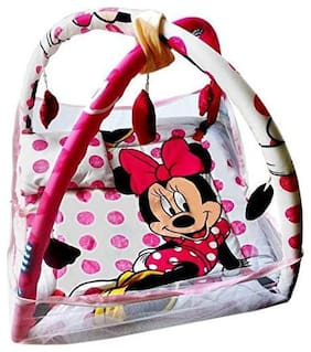 Baby Corn Mosquito Protector Play Gym with Net Micky Mouse Print Bedding Set