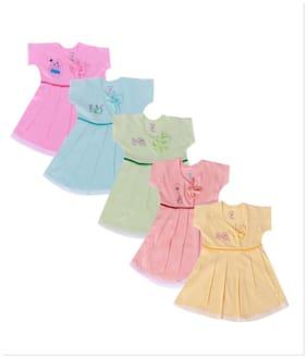 Jo kidswear Baby girl Cotton Solid Collar frock - Multi