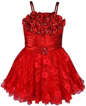 Silver Kraft Baby girl Net Embellished Princess frock - Red