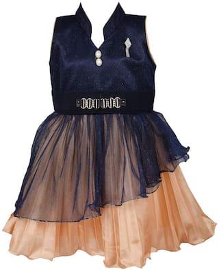 Silver Kraft Baby girl Net Floral Princess frock - Blue