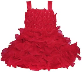 Silver Kraft Baby girl Satin Embellished Princess frock - Red