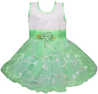 Silver Kraft Baby girl Net Floral Princess frock - Green