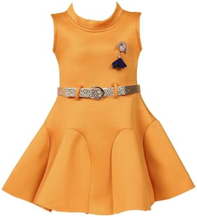 Silver Kraft Baby girl Satin Solid Princess frock - Yellow
