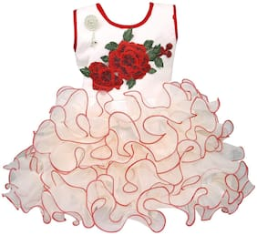 Silver Kraft Baby girl Net Floral Princess frock - Red