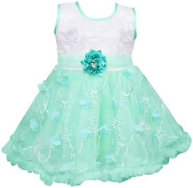Silver Kraft Baby girl Net Floral Princess frock - Green