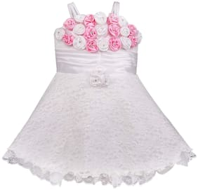 Silver Kraft Baby girl Net Embellished Princess frock - White