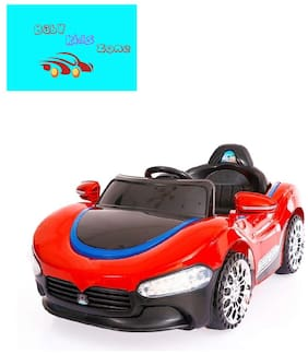 Baby Kids Zone Brand;Baby Super Stylish Rechargeable Battery Operated Led Light Car With Remote Control And Mobile Music Connectivity For Your Kids Red