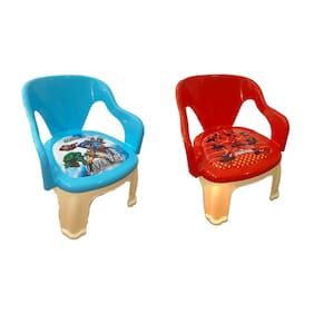 Baby Kids Zone Multi-Purpose Small Chair For Baby With Soft Seat (With Cushion) And With Whistle In Seat (Set of 2)