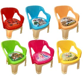 Baby Kids Zone Multi-Purpose Small Chair For Baby With Soft Seat (With Cushion) And With Whistle In Seat (Set of 6)