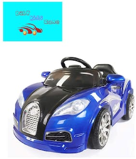 Baby Kids Zone Brand;Baby Super Stylish;Veyron Sport Boomer Rechargeable Battery Operated Led Light Car With Remote Control And Mobile Music Connectivity For Your Kids Blue