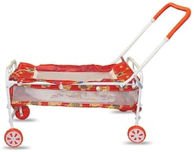 Baby Lightweight Newborn Medium Size Swing Bassinets & Cradles With Removable Mosquito Net With Cum Crib Iron Pipe &  4 Wheels For Boys & Girls - Red