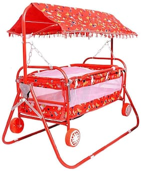 Baby Lightweight Newborn Medium Size Swing Bassinets & Cradles With Canopy And Removable Mosquito Net With Cum Crib Iron Pipe &  4 Wheels For Boys & Girls - Red