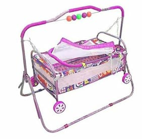 Oh Baby Multicolor Best On Super Quality Cradles And Bassinet (Jhulla And Palna);Crib Cum Stroller;With Mosquito Net With Running Baggi 4 Wheels For Your Kids