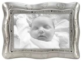 BABY Picture Frame TEN LITTLE FINGERS TOES Malden 4x6 Photo Pewter NEW