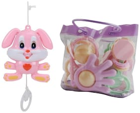 Baby Pouch of 7 pcs Rattle with String Musical Toy Rattle