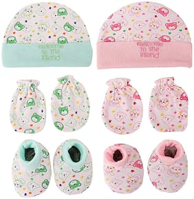 BABY SHOPIIEEE Newborn Baby Cotton Mitten Sets with Cap and Booty (0-3 month) Pack of 2