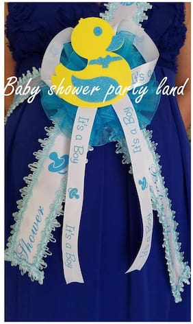 Baby Shower Mom To Be It's a Boy Sash Duck Duckling Blue Ribbon with Corsage