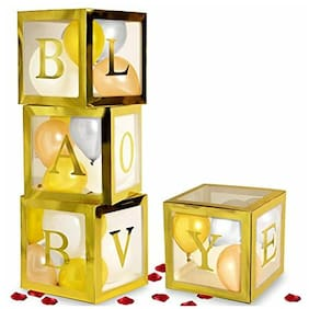 Baby Shower Decorations For Girl And Boy, Gold Transparent Babyshower Boxes In