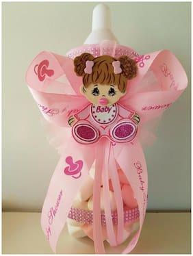 "Baby Shower Centerpiece Fillable Bottle Big 14"" Piggy Bank its a Girl Decoration"