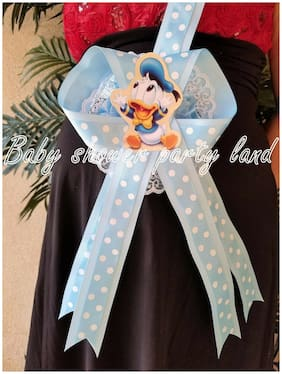 Baby Shower Mom To Be It's a Boy Sash Duck Blue polkadots Ribbon with Corsage