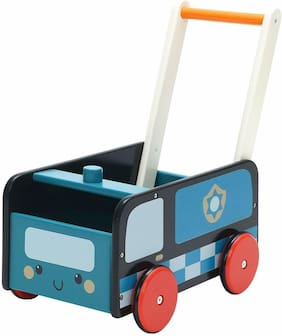 Baby Toddler Walker Blue Police Car Truck 2 In 1 Wooden Activity Learning Walker