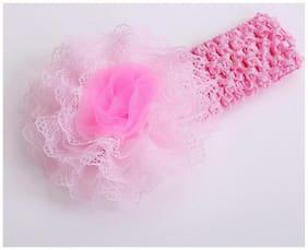 AkinosKIDS Infant girls flower chiffon lace yard Knitting Hair Weave crochet baby newborn Light Pink Soft Headband