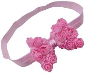 AkinosKIDS Light Pink Elastic Rose Flower Newborn Babygirl Soft Headband