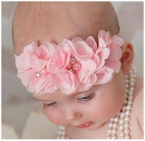 AkinosKIDS Light Pink Chiffon Flower Pearl Embellished NewBorn BabyGirl Soft Elastic Headband