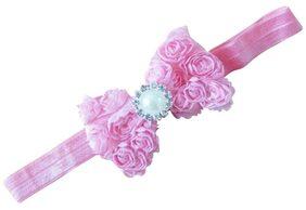 AkinosKIDS Mesh Yarn pink Baby Bow Flower elastic newborn Soft headband