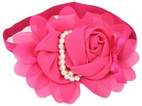 AkinosKIDS Newborn Infant Toddler Baby girl Fuschia Pink chiffone flower pearl elastic lace Soft Headband