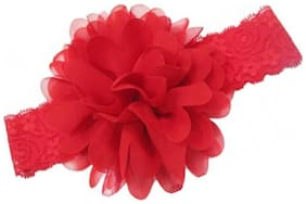 AkinosKIDS Newborn Chiffon Flower Red Net Weave Soft Headband.Baby Hair Accessory