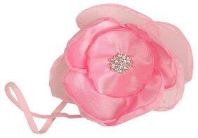 AkinosKIDS Organza Light Pink Flower Baby Baptism Newborn Soft Headband