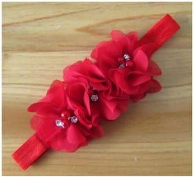 AkinosKIDS Red Chiffon Flower Pearl Embellished NewBorn BabyGirl Soft Elastic Headband