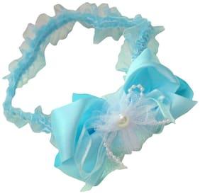 AkinosKIDS satin bow grenadine Flowers pearl elastic light blue lace ribbon newborn baby Soft Headband