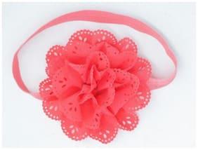 AkinosKIDS Wavy Edge Hollow Out Peach Flower soft Elastic Newborn Headband