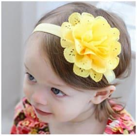 AkinosKIDS Wavy Edge Hollow Out Yellow Flower soft Elastic Newborn Headband