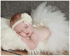 AkinosKIDS Wavy Edge Hollow Out Cream Flower soft Elastic Newborn Headband