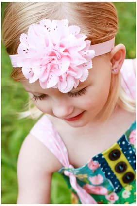 AkinosKIDS Wavy Edge Hollow Out Light Pink Flower soft Elastic Newborn Headband