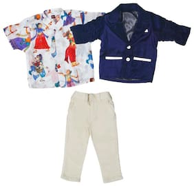 Mashup Boy Cotton Solid Kurta pyjama set - Blue