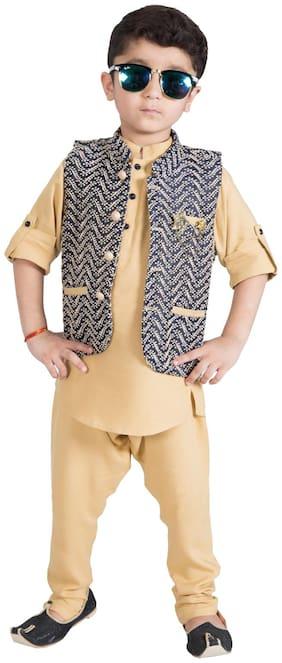Mash Up Boy Cotton Solid Kurta pyjama set - Brown