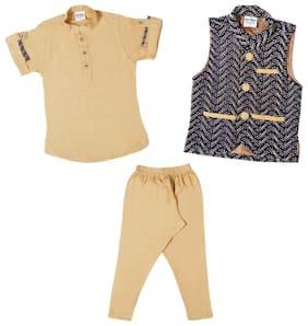 Mashup Baby boy Cotton Solid Kurta pyjama set - Orange