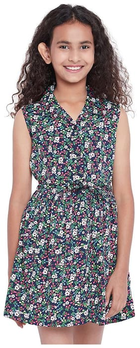 OXOLLOXO Polyester Printed Frock - Blue
