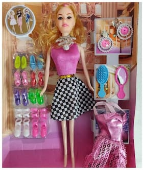 8b1b4a52426 Barbie Girl Doll Series With Doll Dresses Set For Kids (Multicolor)